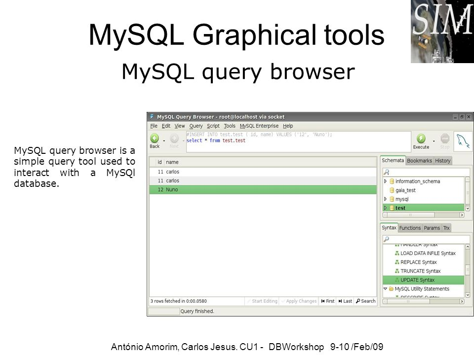MySQL Graphical tools MySQL query browser
