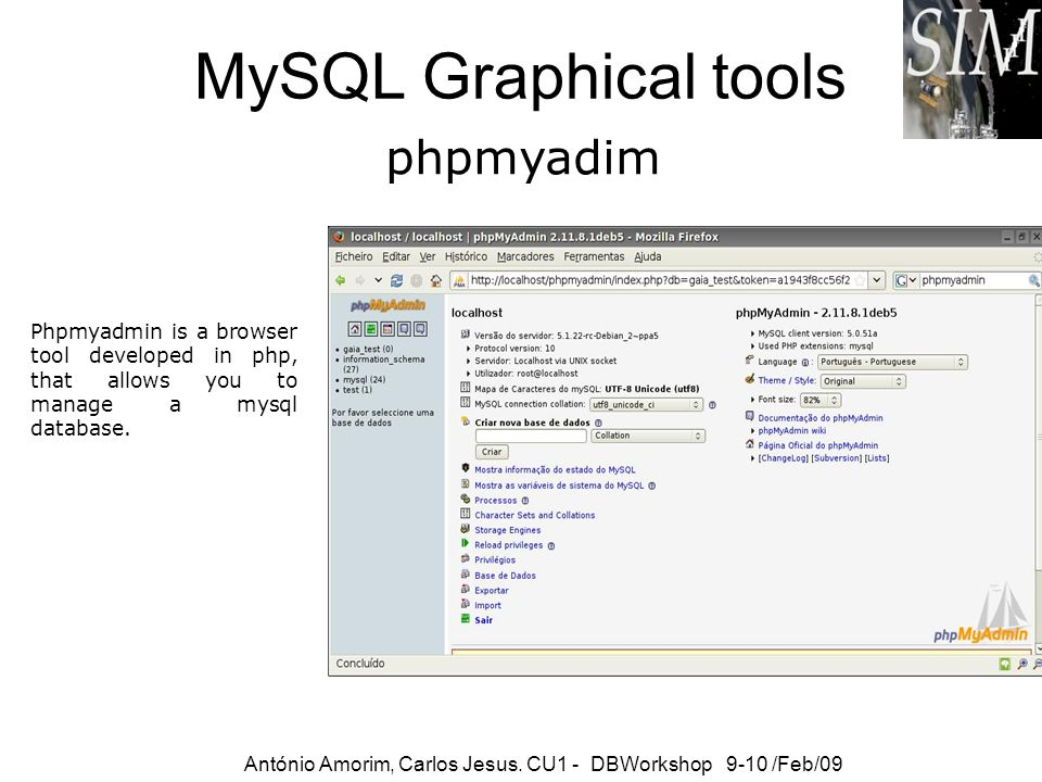 MySQL Graphical tools phpmyadim