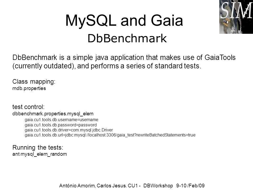 MySQL and Gaia DbBenchmark