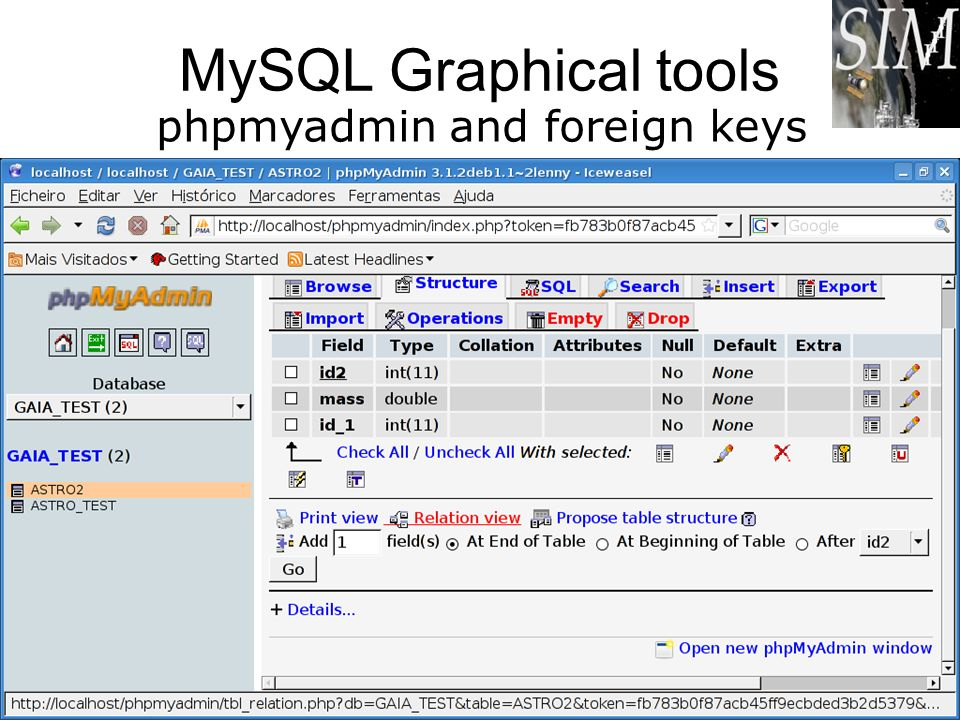 phpmyadmin and foreign keys