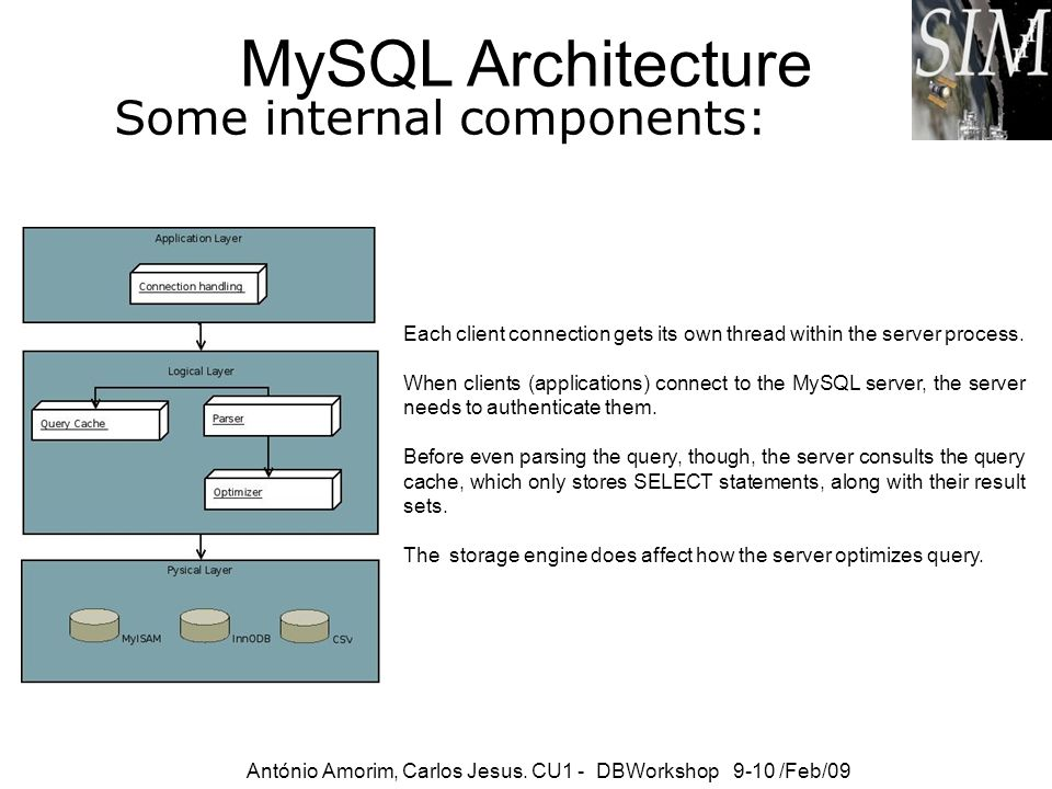 MySQL Architecture Some internal components: