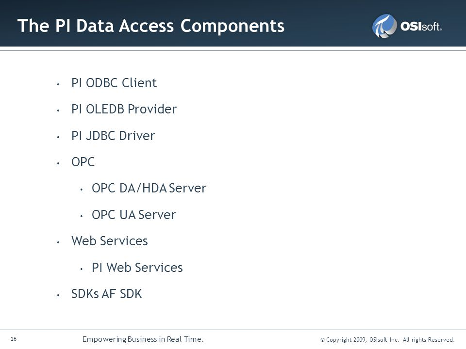 The PI Data Access Components