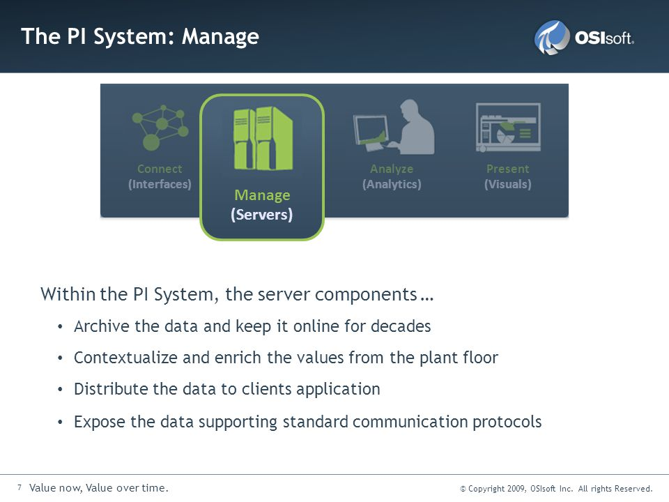 The PI System: Manage Within the PI System, the server components …