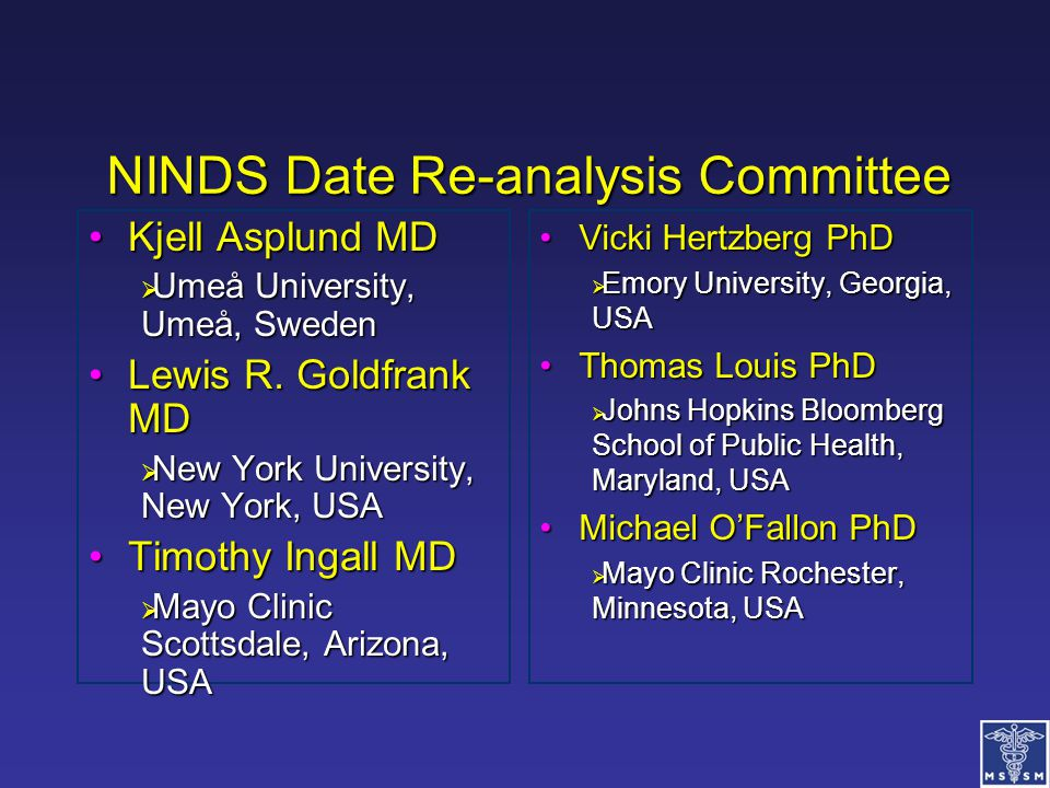 NINDS Date Re-analysis Committee