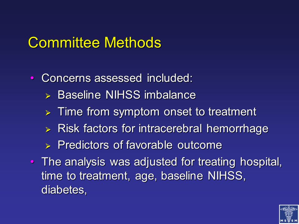 Committee Methods Concerns assessed included: Baseline NIHSS imbalance