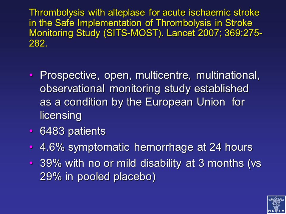 4.6% symptomatic hemorrhage at 24 hours