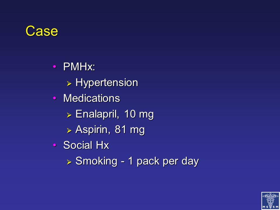 Case PMHx: Hypertension Medications Enalapril, 10 mg Aspirin, 81 mg