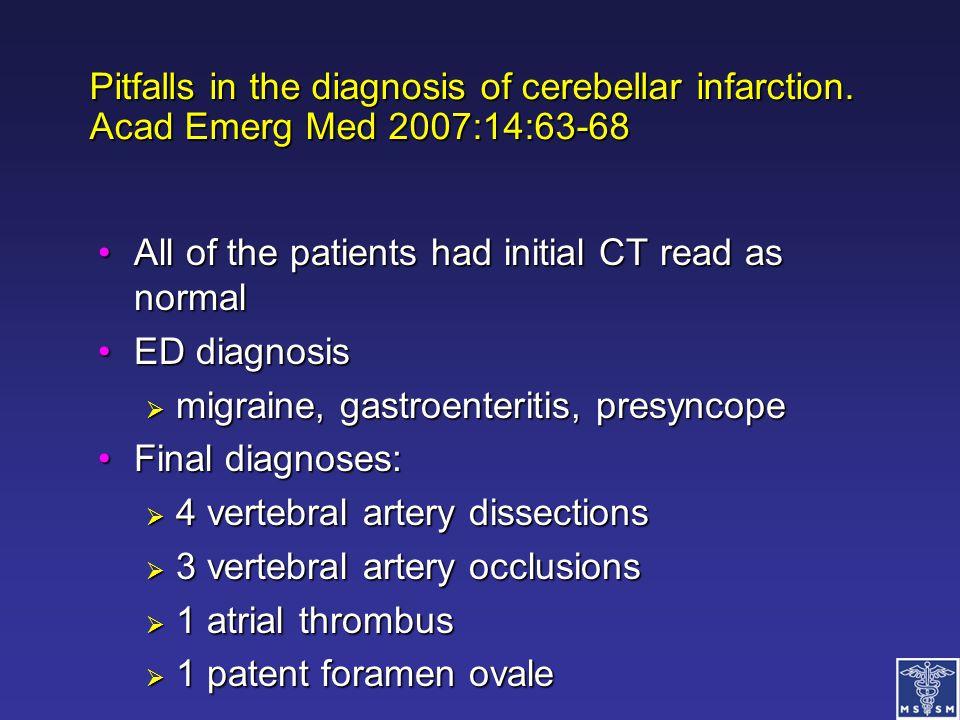 Pitfalls in the diagnosis of cerebellar infarction