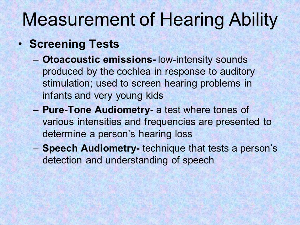 Measurement of Hearing Ability