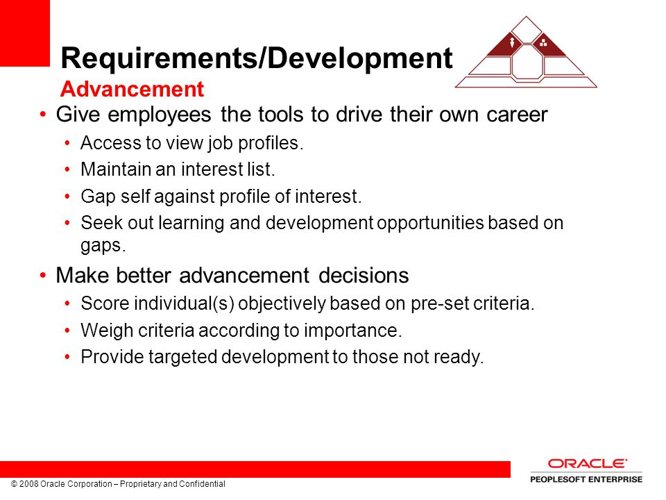 Requirements/Development Advancement