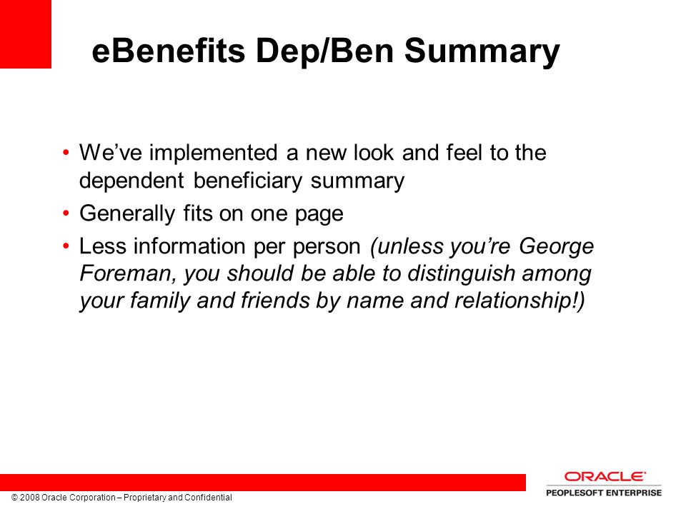 eBenefits Dep/Ben Summary