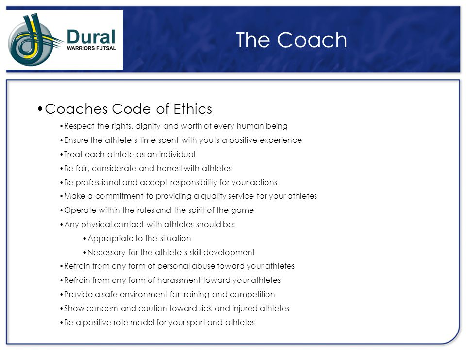 The Coach Coaches Code of Ethics