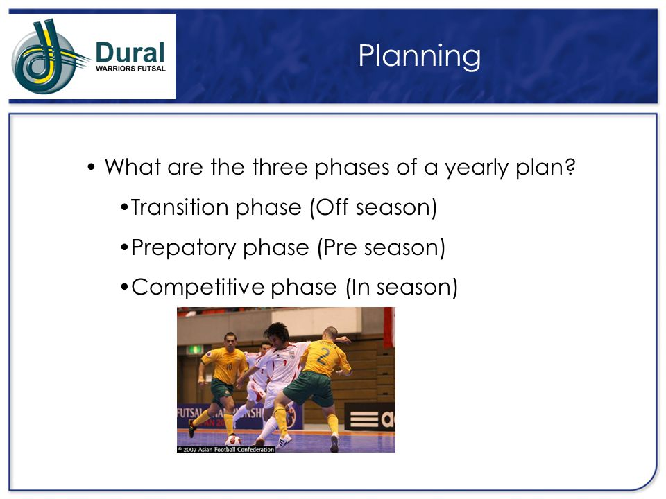 Planning What are the three phases of a yearly plan
