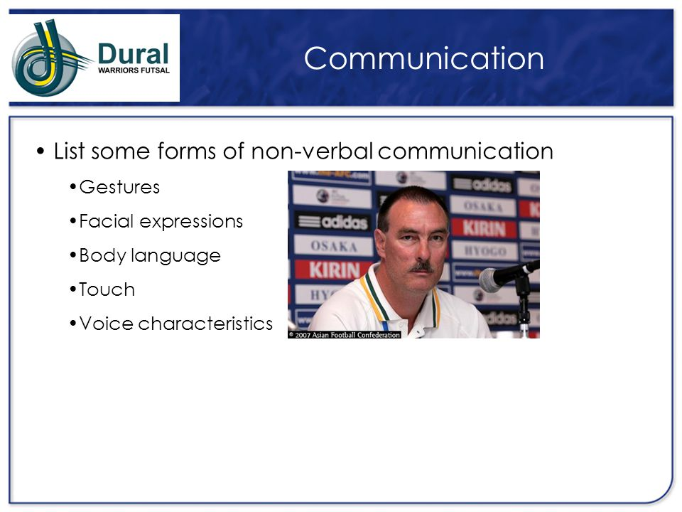 Communication List some forms of non-verbal communication Gestures