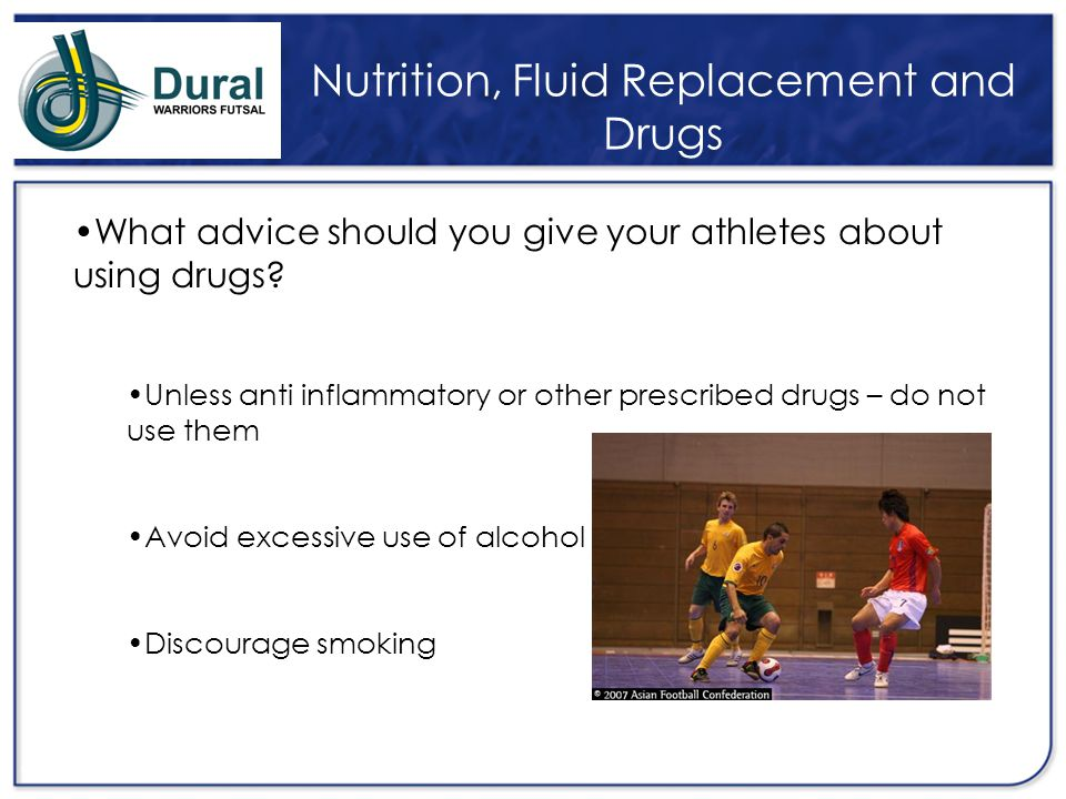 Nutrition, Fluid Replacement and Drugs