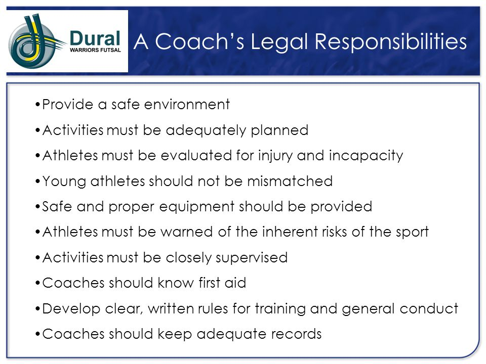 A Coach's Legal Responsibilities