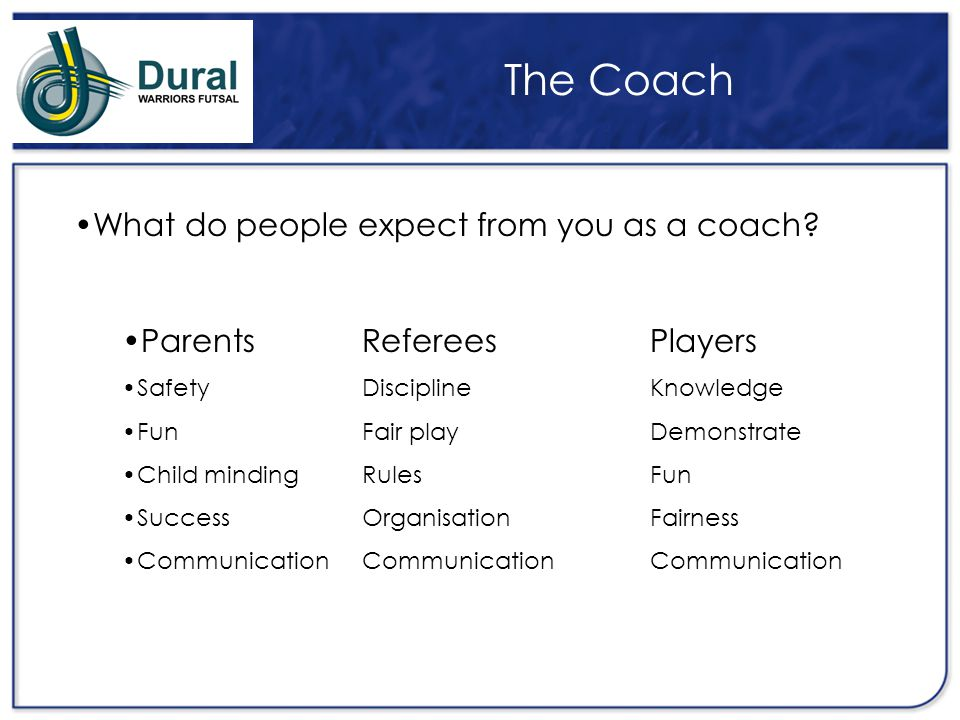 The Coach What do people expect from you as a coach