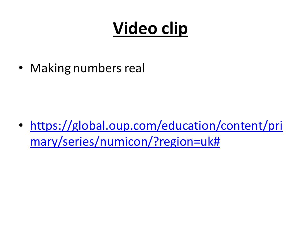 Video clip Making numbers real