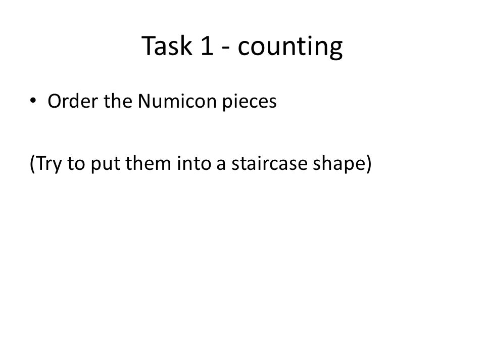 Task 1 - counting Order the Numicon pieces