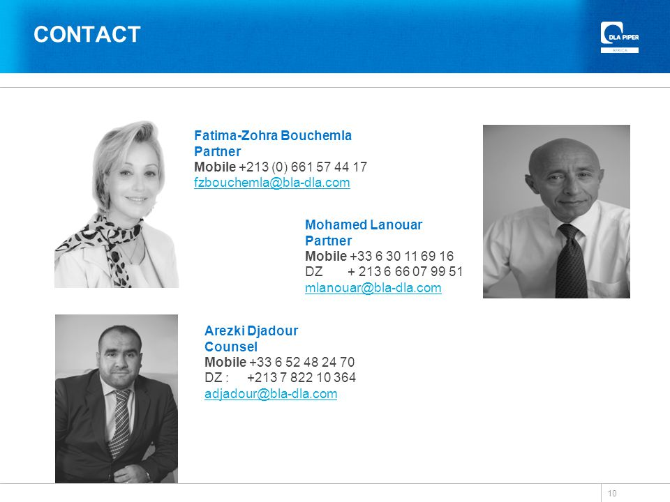 CONTACT Fatima-Zohra Bouchemla Partner Mobile +213 (0) 661 57 44 17