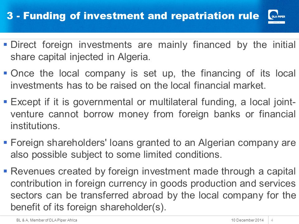 3 - Funding of investment and repatriation rule