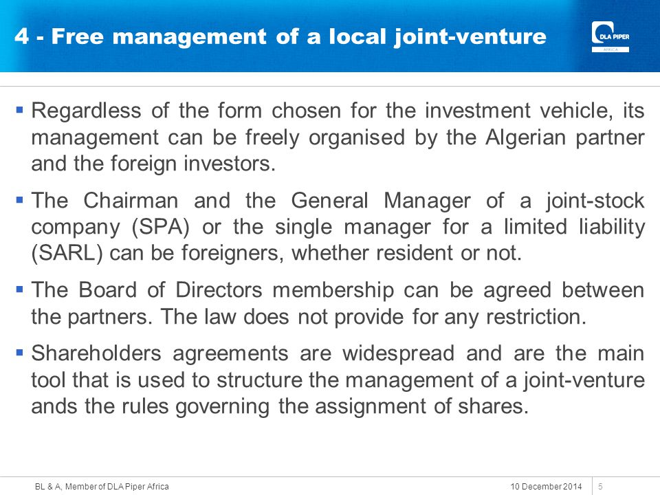 4 - Free management of a local joint-venture