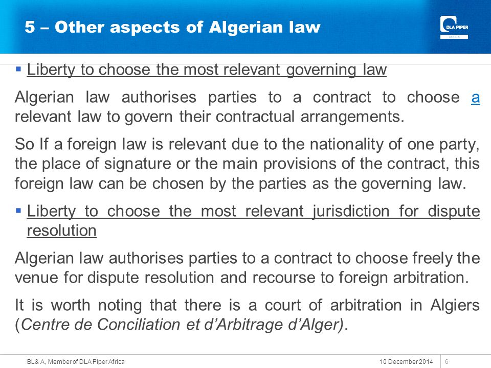5 – Other aspects of Algerian law