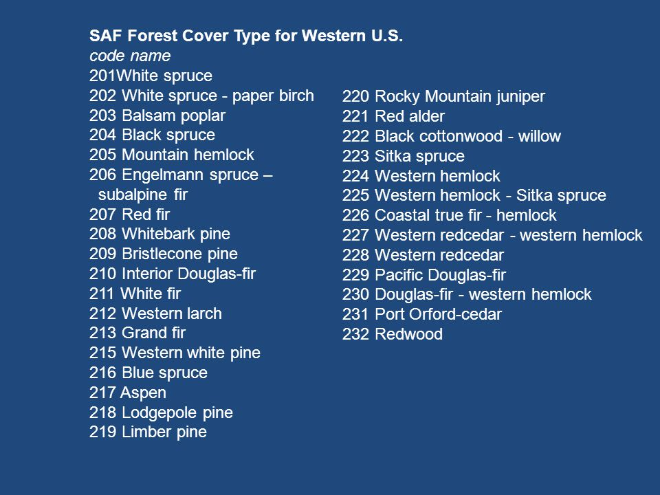 SAF Forest Cover Type for Western U.S.