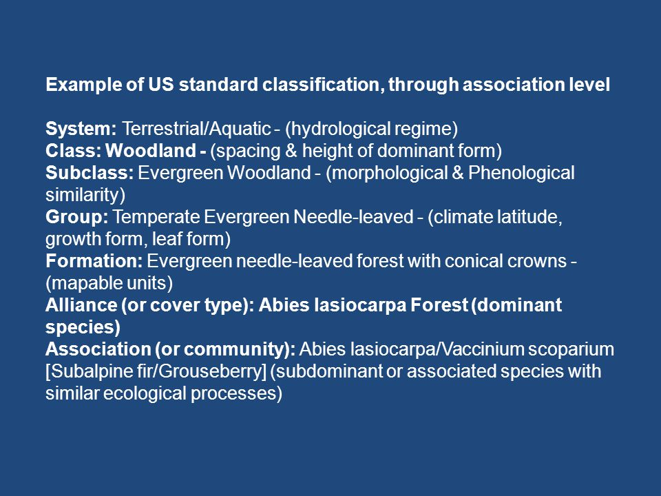 Example of US standard classification, through association level