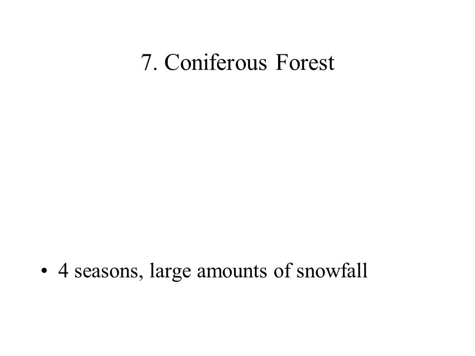7. Coniferous Forest 4 seasons, large amounts of snowfall