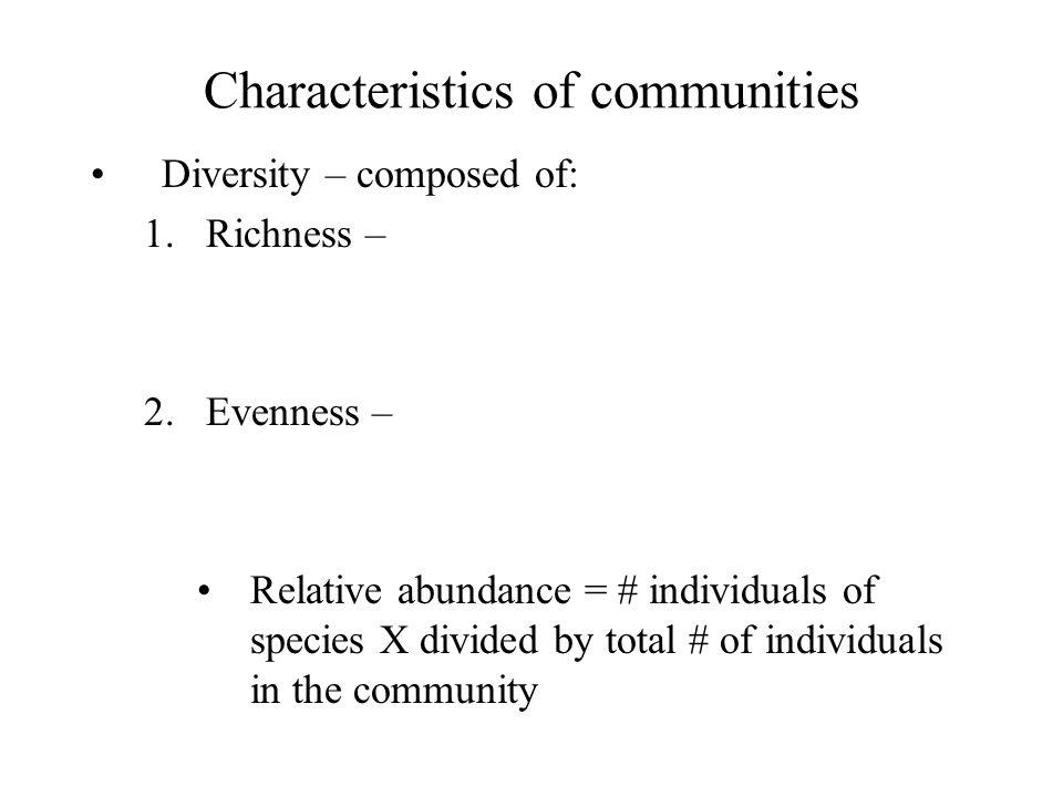 Characteristics of communities
