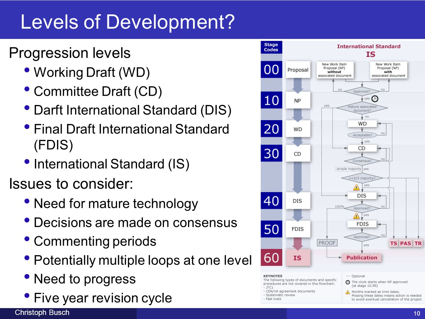 Levels of Development Progression levels Issues to consider:
