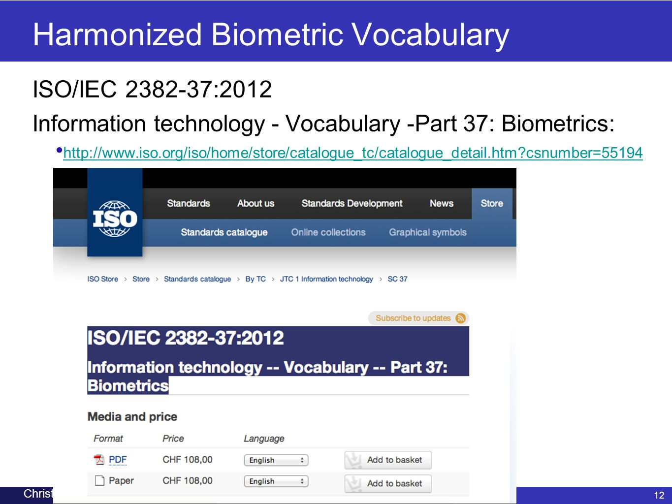 Harmonized Biometric Vocabulary