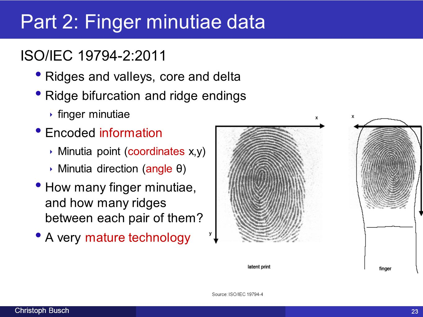 Part 2: Finger minutiae data