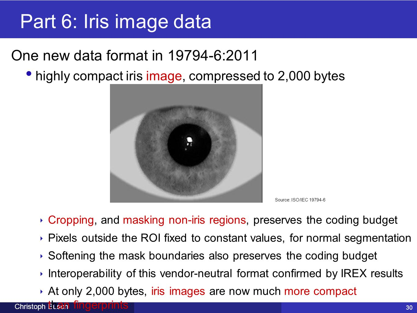 Part 6: Iris image data One new data format in 19794-6:2011