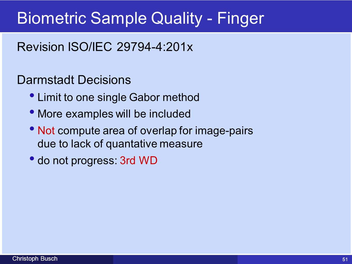 Biometric Sample Quality - Finger