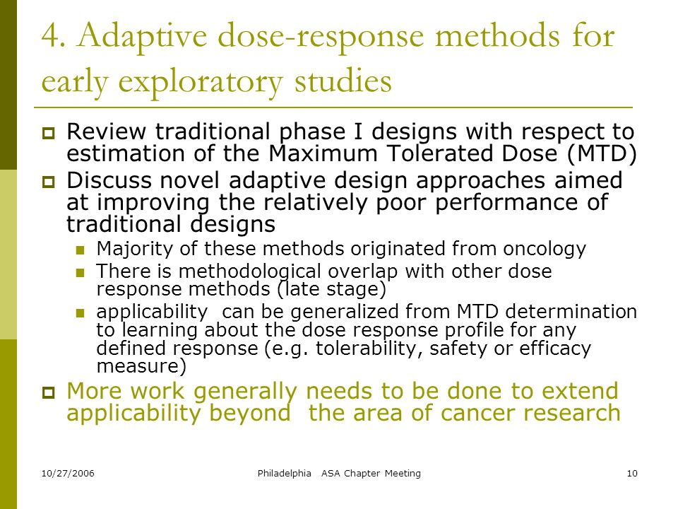 4. Adaptive dose-response methods for early exploratory studies