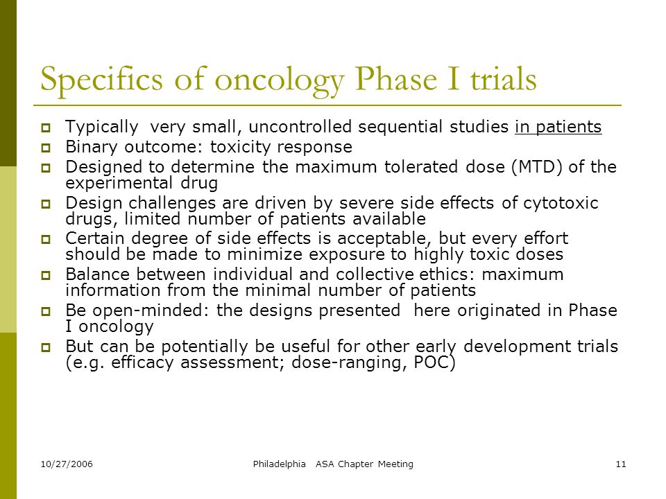 Specifics of oncology Phase I trials