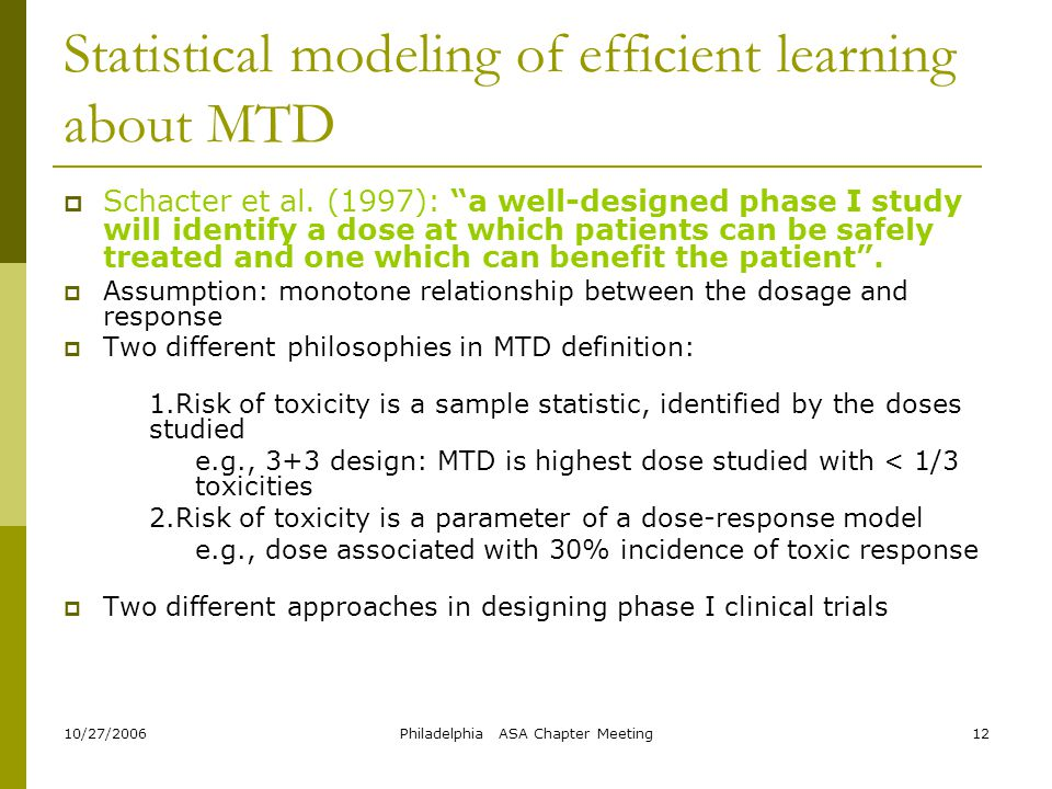 Statistical modeling of efficient learning about MTD