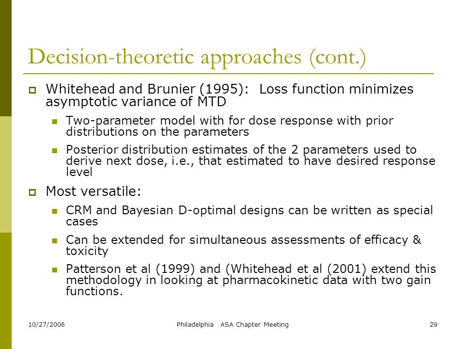 Decision-theoretic approaches (cont.)