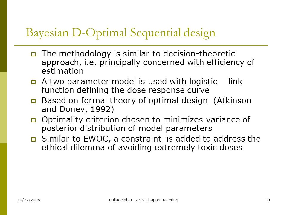 Bayesian D-Optimal Sequential design