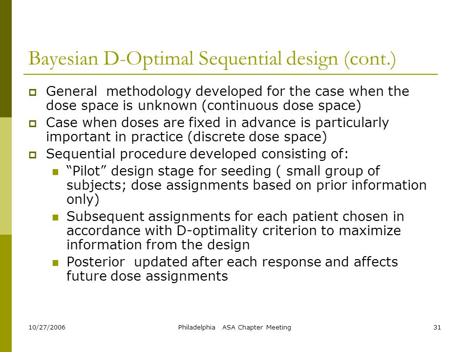 Bayesian D-Optimal Sequential design (cont.)