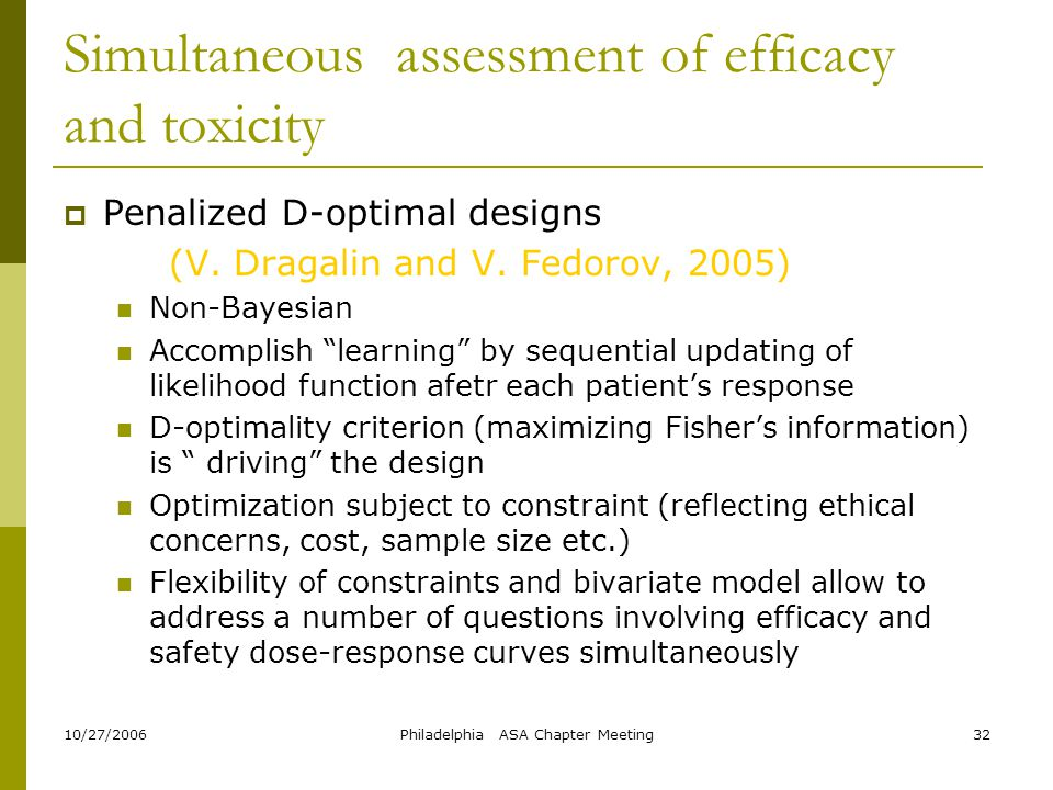 Simultaneous assessment of efficacy and toxicity