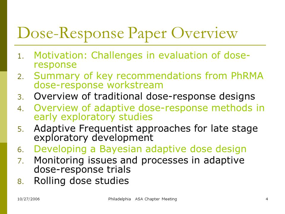 Dose-Response Paper Overview