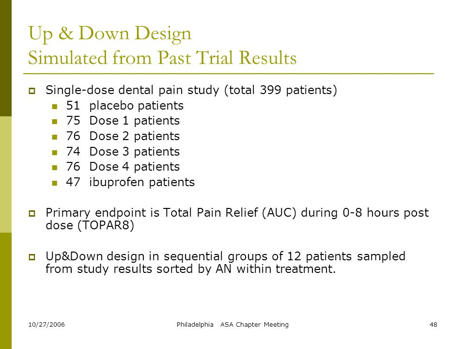 Up & Down Design Simulated from Past Trial Results