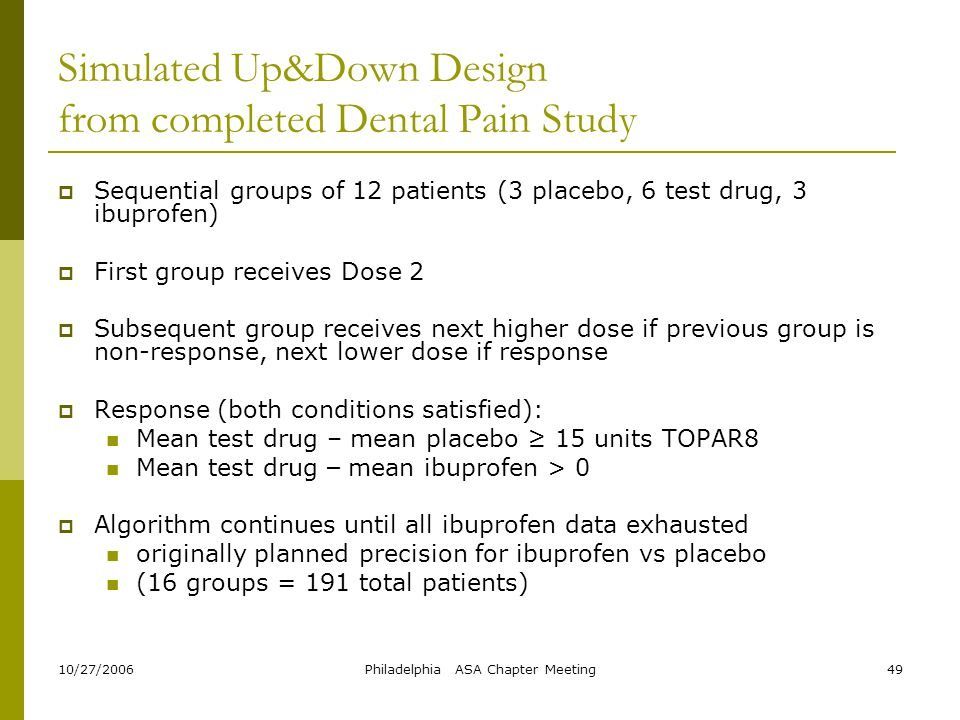 Simulated Up&Down Design from completed Dental Pain Study