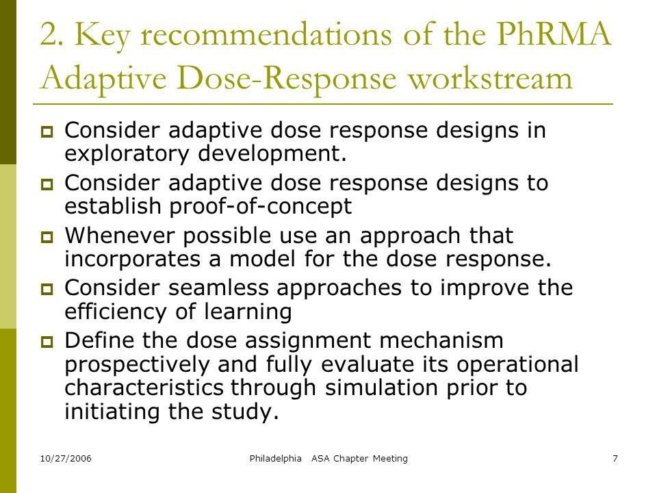 2. Key recommendations of the PhRMA Adaptive Dose-Response workstream
