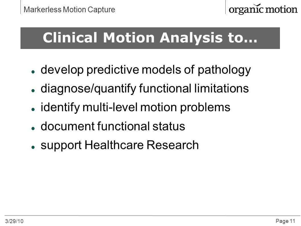 Clinical Motion Analysis to…