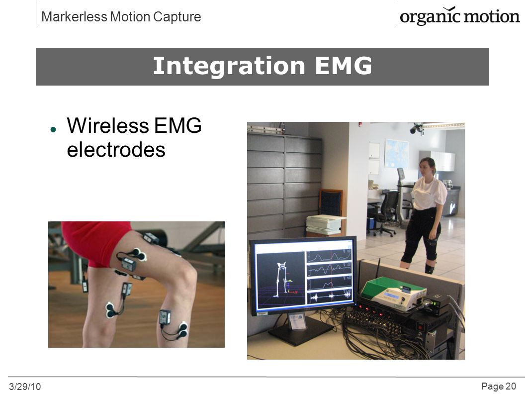 Why Motion Capture Integration EMG Wireless EMG electrodes