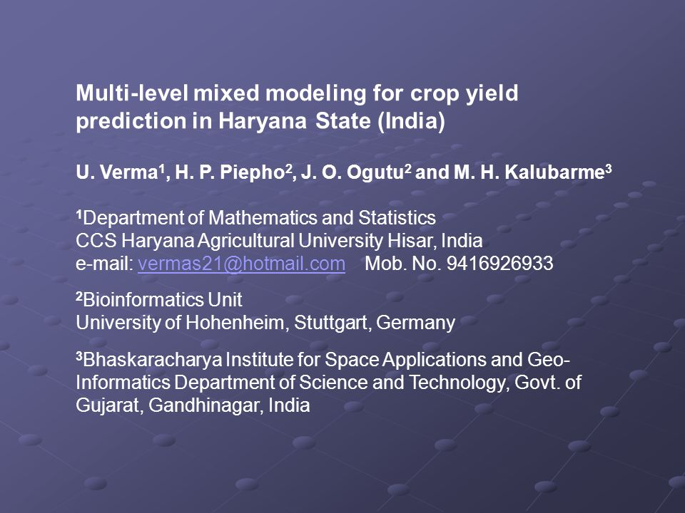 Multi-level mixed modeling for crop yield prediction in Haryana State (India)